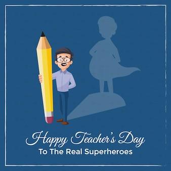 Счастливый день учителя баннер с учителем, держащим карандаш в руке