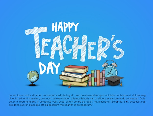 Happy teacher's day card illustration