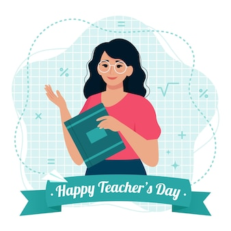 여성 교사와 함께 행복 한 스승의 날 카드입니다. 평면 스타일의 벡터 일러스트 레이 션