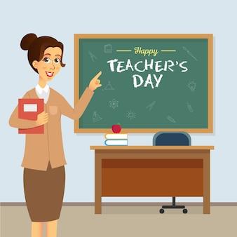 Счастливый день учителя иллюстрации шаржа. подходит для поздравительной открытки, плаката и баннера