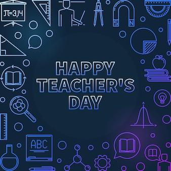 Счастливый день учителя красочный линейный значок иллюстрации