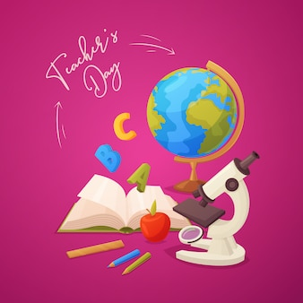 Happy teacher's day greeting card with microscope, apple, pencils, open book, globe and ruler.