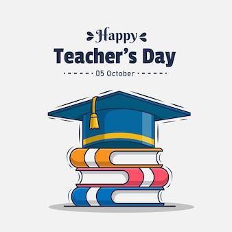 Happy teacher's day greeting icon illustration