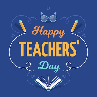 Happy teacher's day greeting lettering