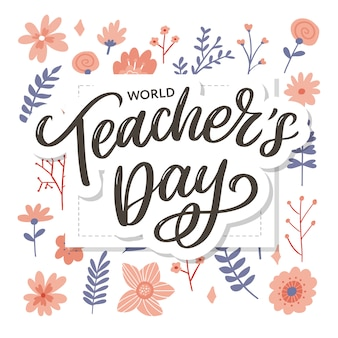 Happy teacher's day inscription. greeting card with calligraphy. hand drawn lettering. typography for invitation, banner, poster or clothing .  quote.