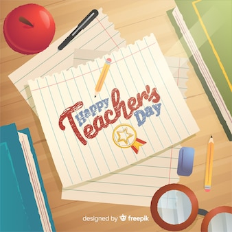 Happy teacher's day lettering on paper illustration