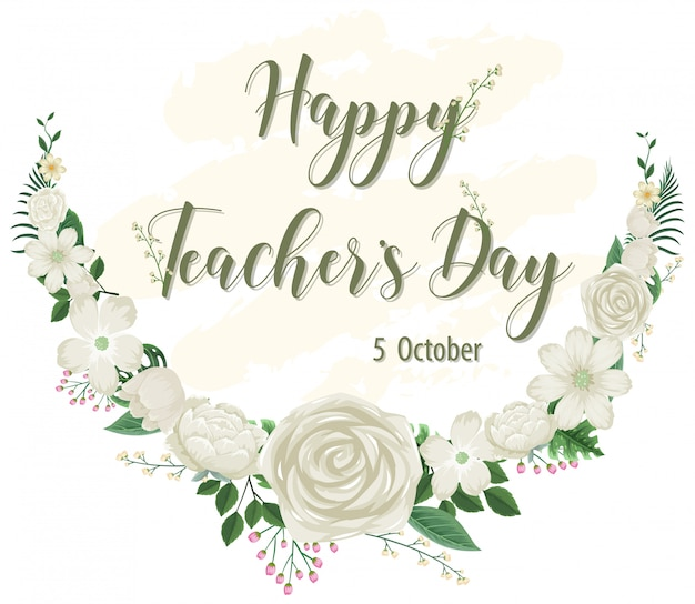 Happy teacher's day logo with floral theme