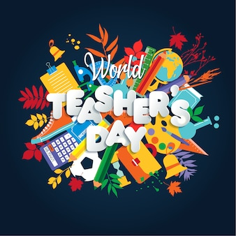 Happy teacher s day poster concept with bright icons.
