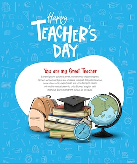Happy teacher's day poster template