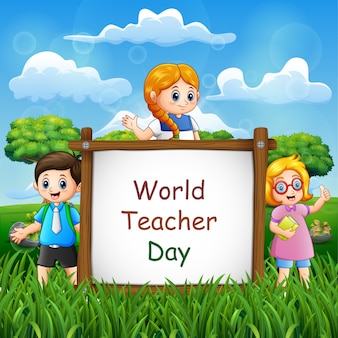 Happy teacher's day on sign with children