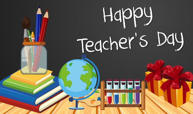 Happy teacher's day sign with set of stationary elements