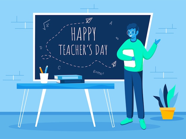 Happy teacher's day text on chalkboard with cartoon educator holding book in classroom.