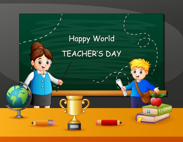 Happy teacher's day text on chalkboard with kids and teacher