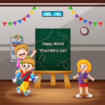 Happy teacher's day text with kids in the classroom
