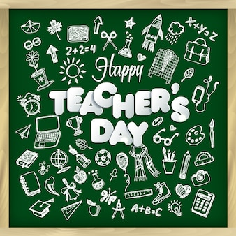 Happy teacher s day vector illustration in chalkboard style.