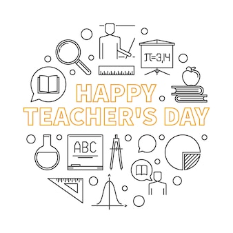 Happy teacher's day vector round outline illustration