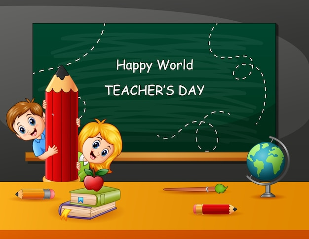Happy teacher's day with kids holding a pencil