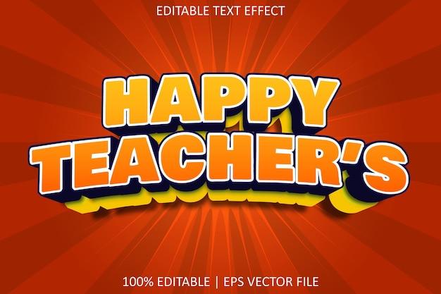 Счастливый учитель с мультяшным тиснением в стиле редактируемого текста с эффектом
