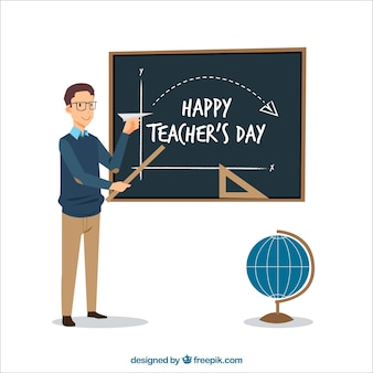 Happy teacher teaching math background