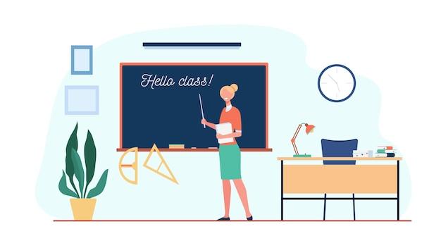 ハロークラスの碑文と黒板に立って、教室で生徒を歓迎する幸せな先生。学校に戻るためのベクトル図、教育の概念