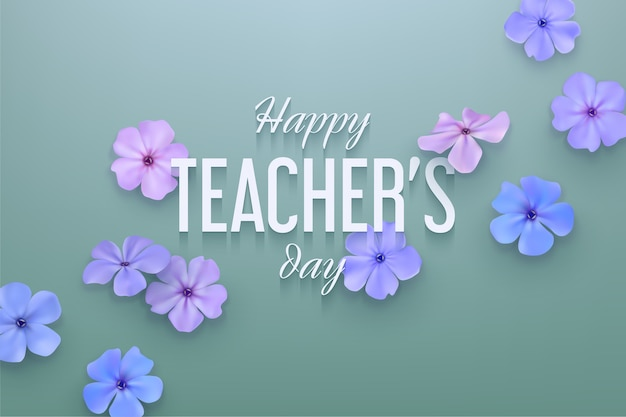 Happy teachers day background with delicate flowers.