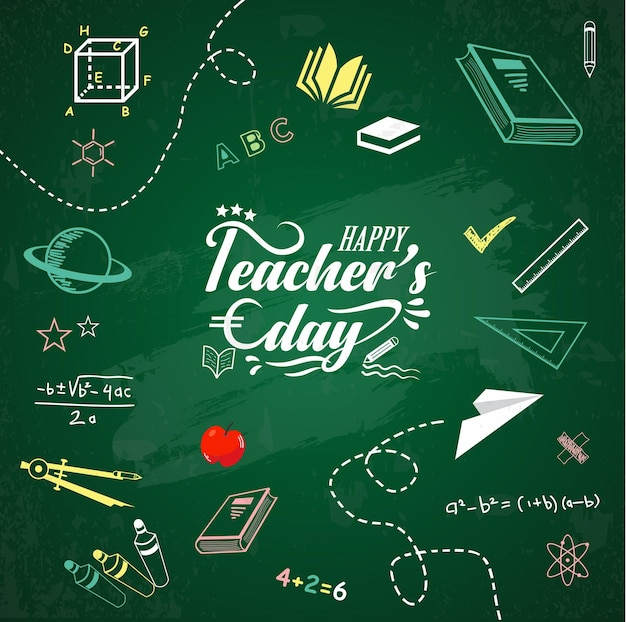 Happy teachers day card or banner vector design best teacher ever concept with school icon