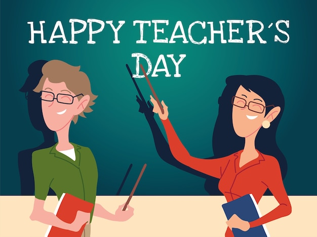Happy teachers day card with couple of teachers design