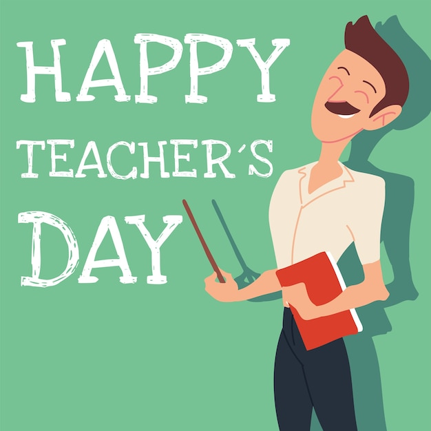 Happy teachers day card with man design