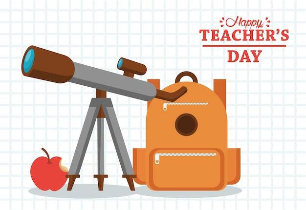 Happy teachers day card with schoolbag and telescope.