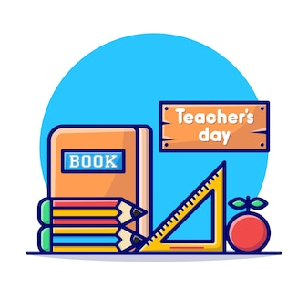 Happy teachers day card with stationary