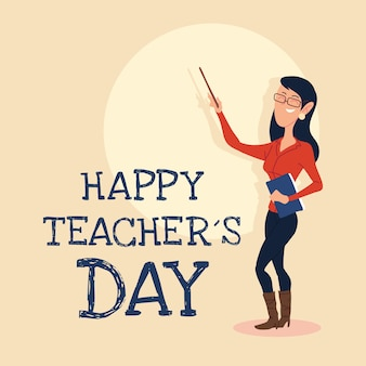 Happy teachers day card with woman design