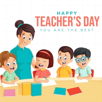Happy teachers day cartoon style banner design template