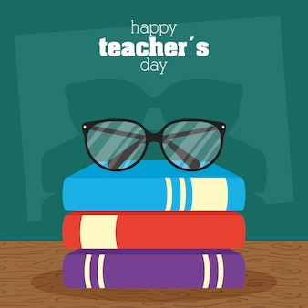 Happy teachers day celebration with chalkboard and books