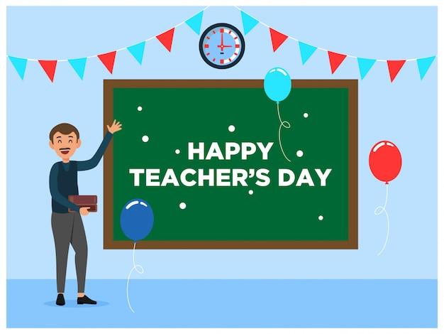 Happy teachers day classroom blackboard