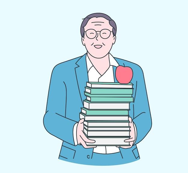 幸せな先生の日のコンセプト。幸せな古い先生は学校や大学で本を手に持っています。