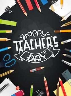 Happy teachers day concept. school chalkboard with different objects