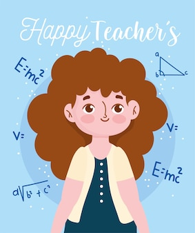Happy teachers day, female teacher mathematical equation formula