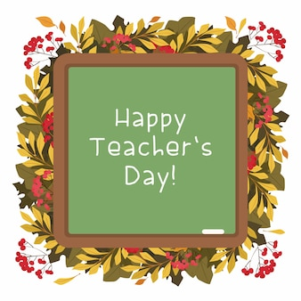 Счастливый день учителя плоский вектор декоративная рамка. осенний гербарий. сезонные листья и ягоды.