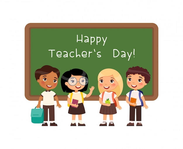 Happy teachers day greeting flat vector illustration.