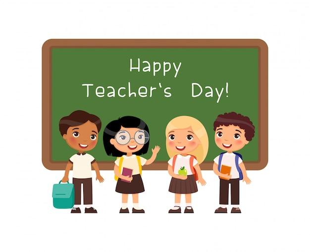 幸せな教師の日挨拶フラットベクトルイラスト。