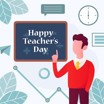 Счастливый день учителя шаблон дизайна иллюстрации с характером