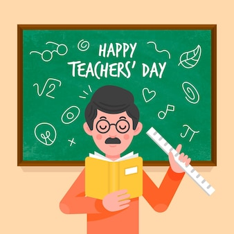 Happy teachers' day illustration