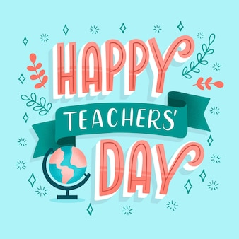 Happy teachers day lettering design