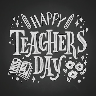 Happy teachers day lettering