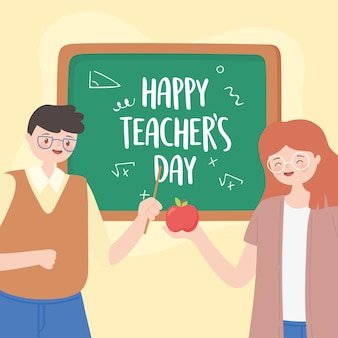 Happy teachers day, male and female teacher with apple and chalkboard