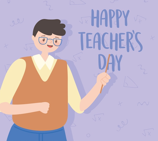 Happy teachers day, male teacher with glasses character