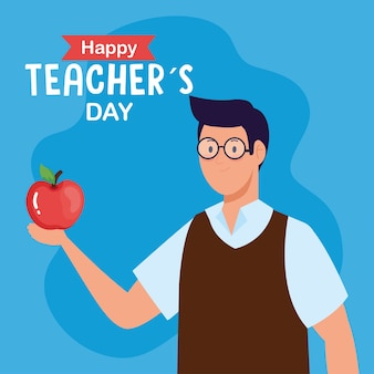 Happy teachers day, and man teacher with apple