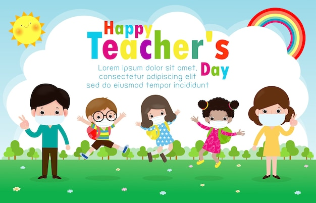 Happy teachers day poster for new normal lifestyle concept. happy students kids and teachers wearing face mask protect corona virus or covid 19 at the school isolated on white background illustration