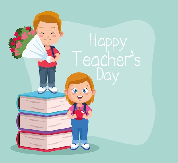 Happy teachers day scene with students couple and books.
