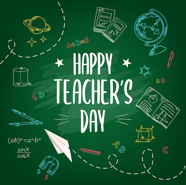 Happy teachers day, school chalk sketch background